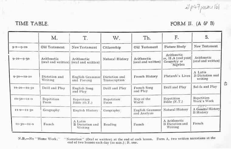 charlotte mason form 2 time table