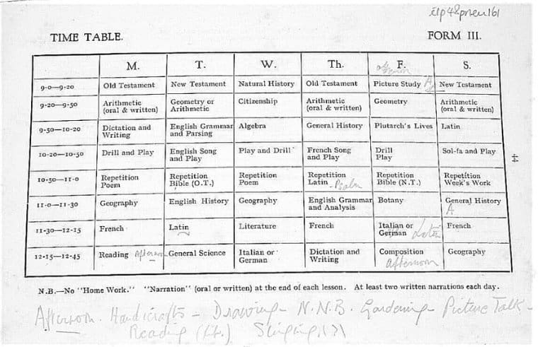 original table of pneu timetables form 3