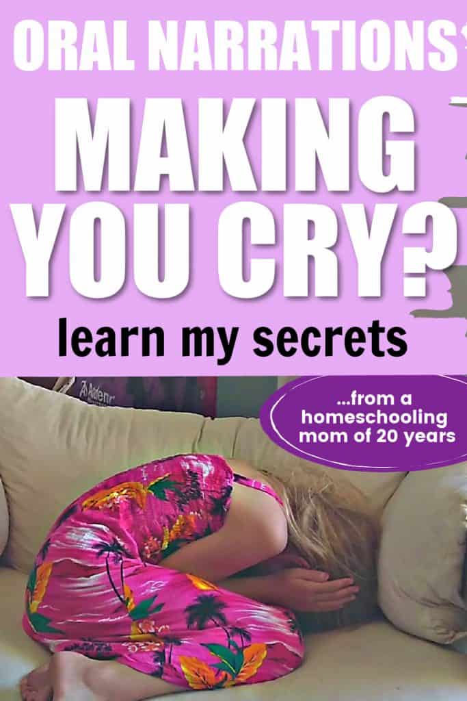 oral narrations making you cry? learn my secrets from a homeschooling mom of 20 years. Girl in pink sundress curled in a ball on an off-white oversized chair with her head down and ears covered